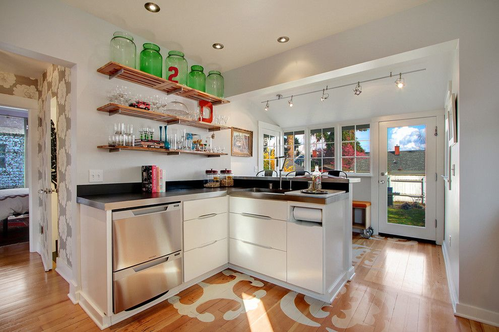 Clean Dishwasher Vinegar for a Contemporary Kitchen with a Zinc Bar Top and Ballard Residence by Zinc Art + Interiors