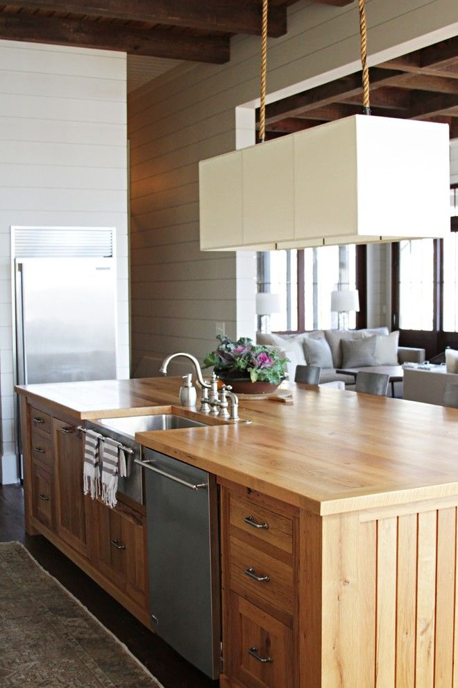 Cleaning Dishwasher with Vinegar for a Beach Style Kitchen with a Painted Wooden Walls and Lake House by Yvonne Mcfadden Llc