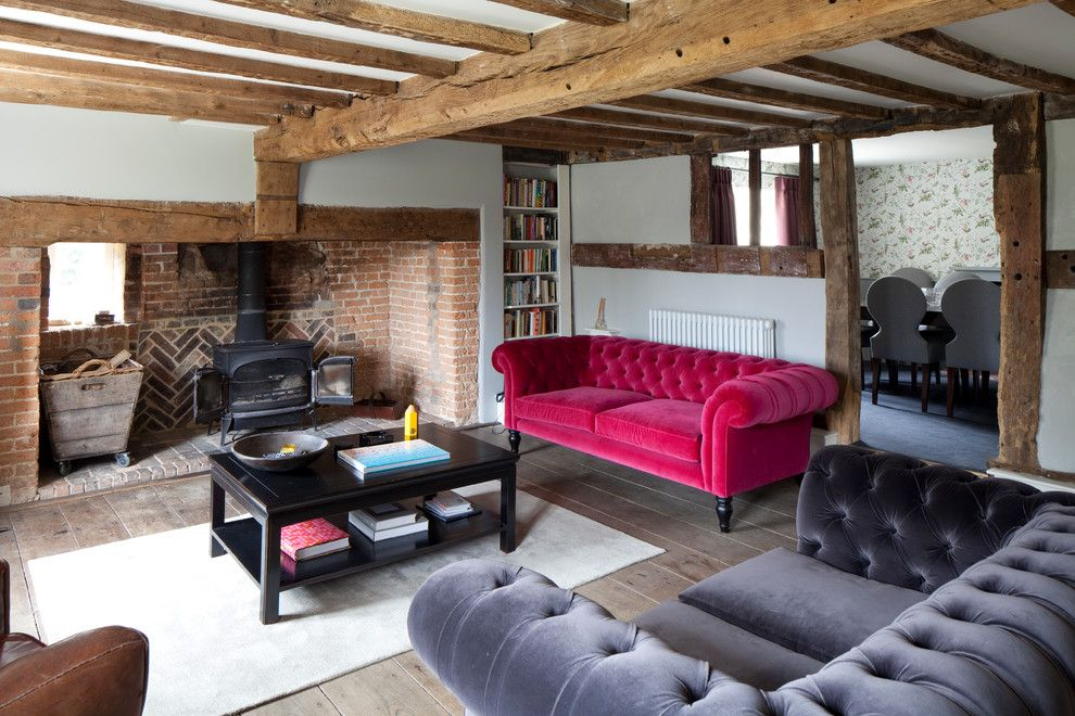 Conestoga Wood Specialties for a Farmhouse Living Room with a Black Coffee Table and Family House in East Sussex by Georgina Gibson Interior Design