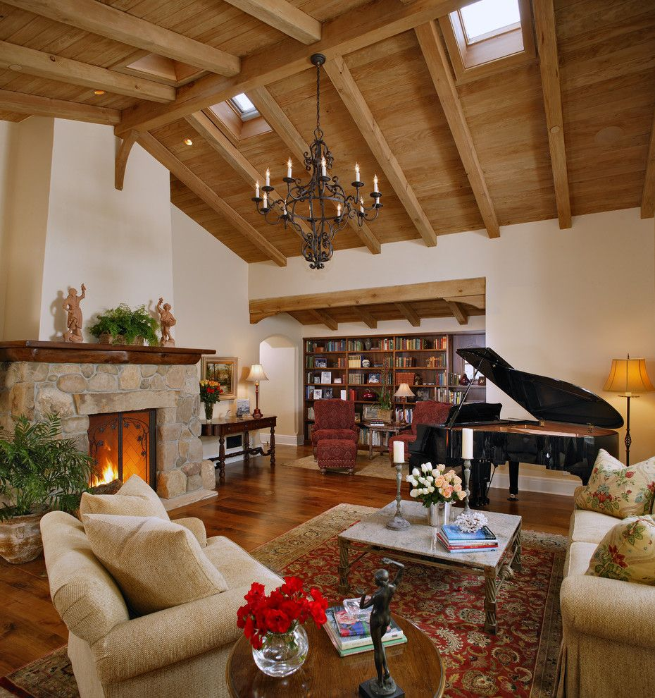 Conestoga Wood Specialties for a Traditional Living Room with a Wood Ceiling and Living Room by Tom Meaney Architect, Aia
