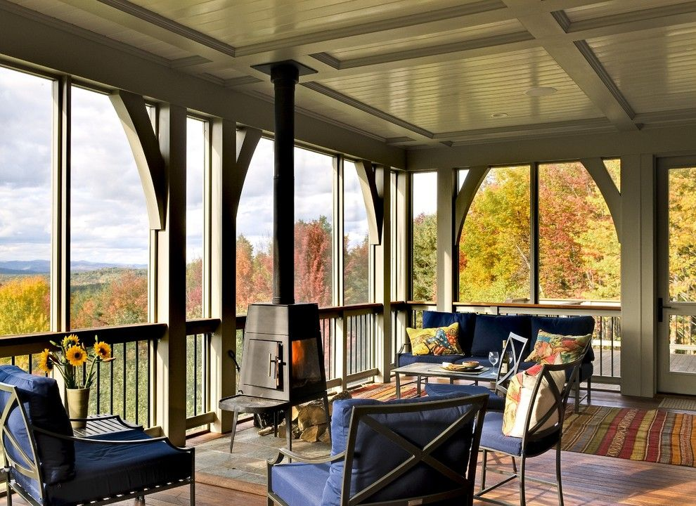 Conestoga Wood Specialties for a Traditional Porch with a Wood Ceiling and Hillside Residence Hanover Nh by Smith & Vansant Architects Pc