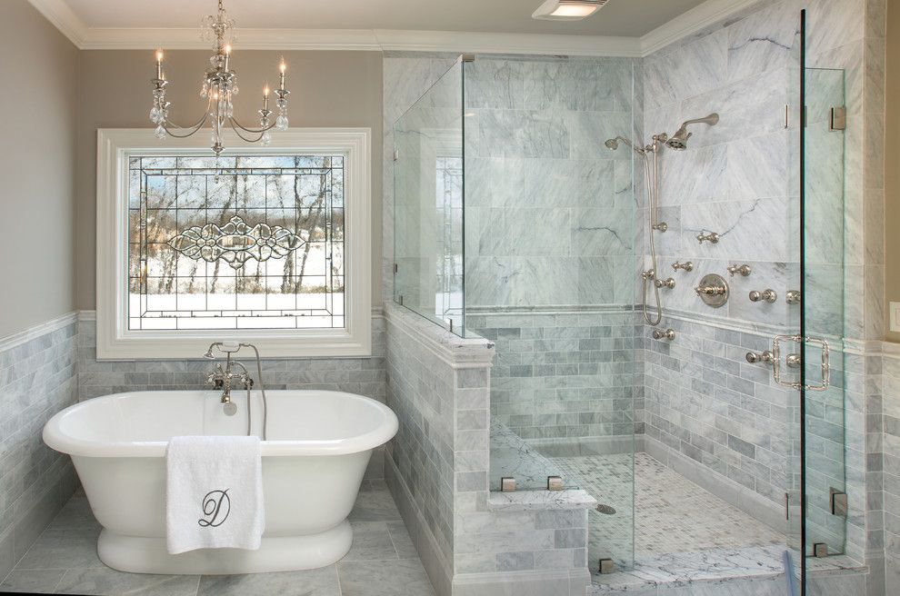 Efaucets.com for a Traditional Bathroom with a Chandelier and Powell Ohio Master Bath by Jim Deen/kitchen Kraft