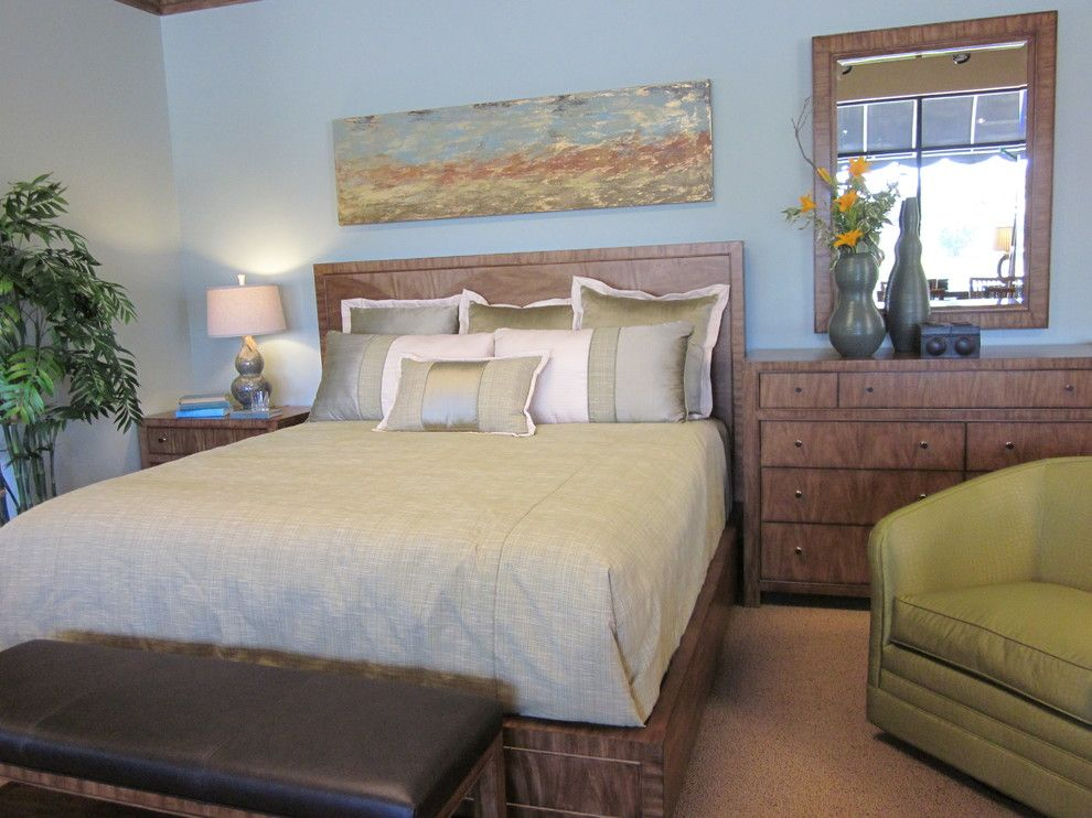 Ennis Furniture for a Transitional Bedroom with a Green Bedding and Transitional Home by Kathy Boles Ennis Fine Furniture