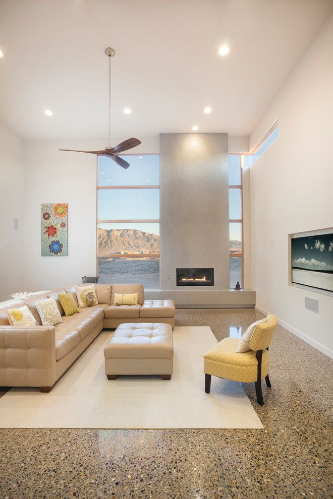 Exposed Aggregate Concrete for a Contemporary Living Room with a High Ceiling and Su Casa Spring 2015 by Su Casa Magazine