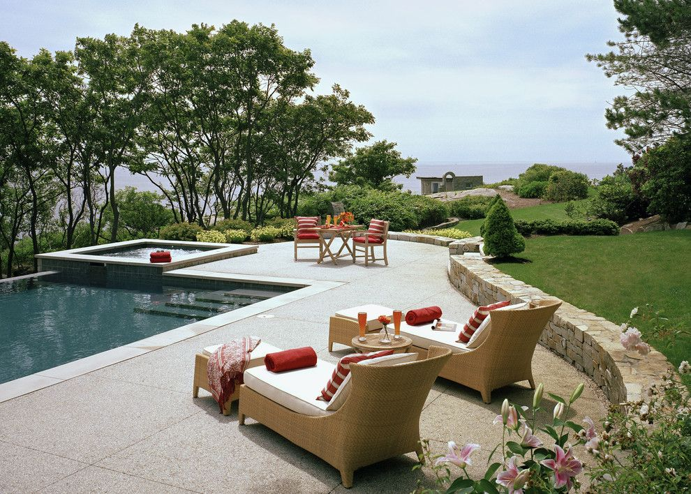 Exposed Aggregate Concrete for a Traditional Pool with a Ocean and Private Residence by Siemasko + Verbridge