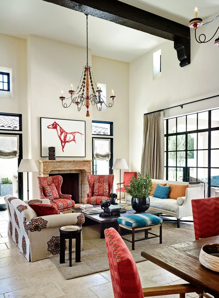 Factory Direct Okc for a Mediterranean Living Room with a High Ceiling and Arcadia Residence by Wiseman & Gale Interiors