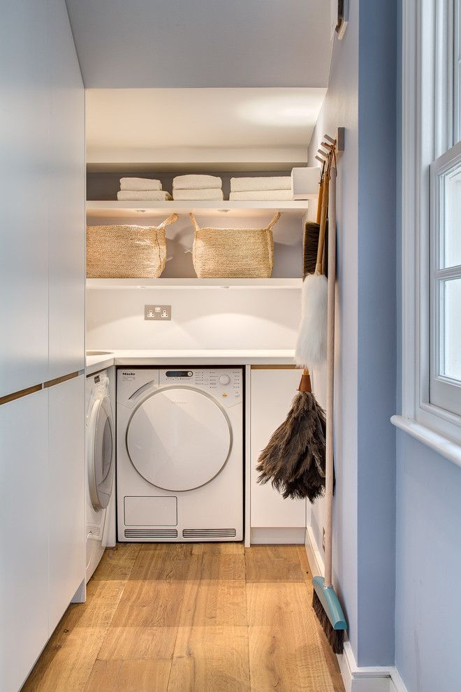 Forbo Flooring for a Contemporary Laundry Room with a Shelves and House in Blomfield Road by Alex Findlater Ltd