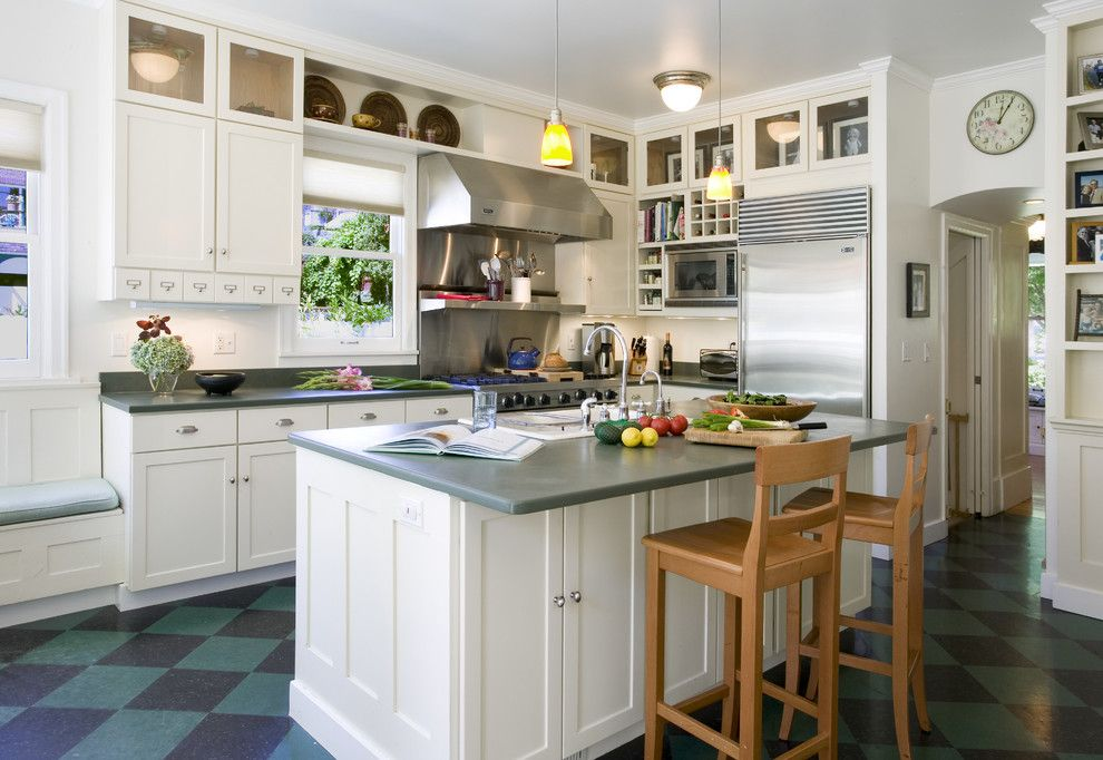 Forbo Flooring for a Traditional Kitchen with a Plate Shelf and Leshi Remodel by Laurie Carron Architect, Aia I Leed Ga