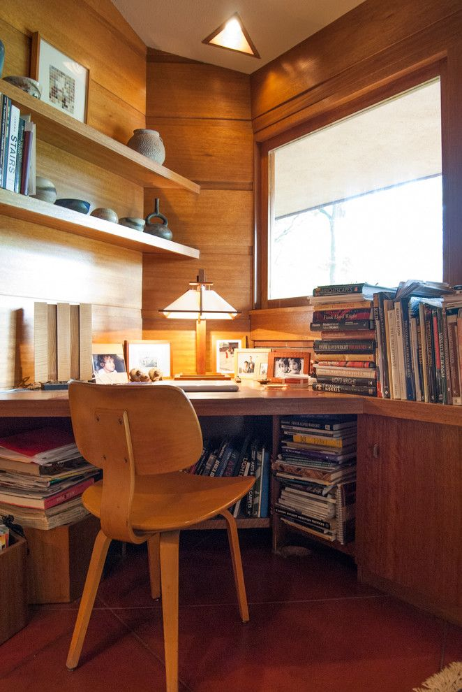 Frank Lloyd Wright Oak Park for a Modern Home Office with a Wood Shelf and Houzz Tour: An Architectural Relic Thrives in the Heartland of Ohio by Adrienne Derosa