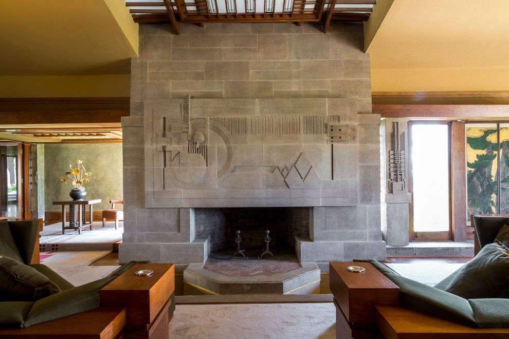 Frank Lloyd Wright Oak Park for a Modern Living Room with a Modern and Hollyhock House by Joshua White