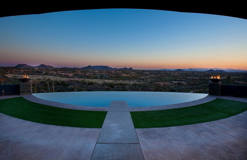 Frank Lloyd Wright Phoenix for a Contemporary Pool with a Fire Feature and Contemporary Residential by Phx Architecture