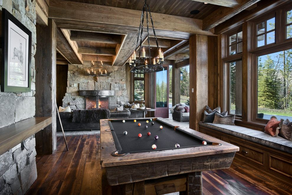 Golden West Billiards for a Rustic Family Room with a Game Room and Yellowstone Club Summit Residence by Locati Architects