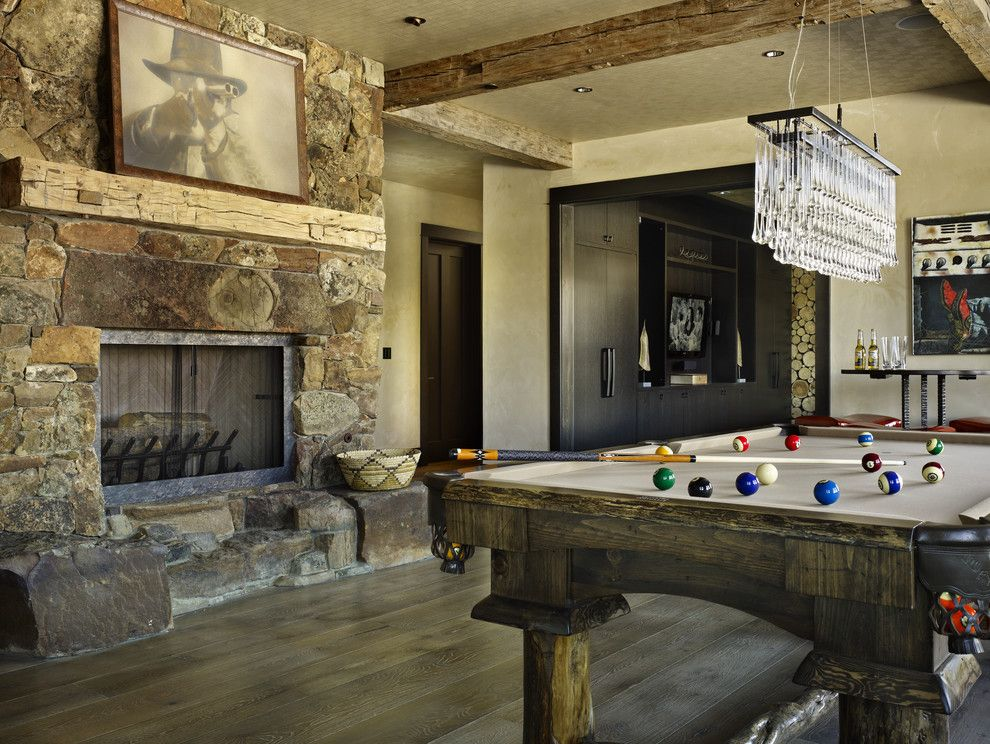 Golden West Billiards for a Rustic Family Room with a Rustic and Yellowstone Residence Family Room by Lkid