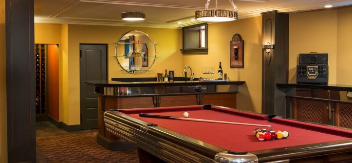 Golden West Billiards for a Traditional Basement with a Basement Bar and Art Deco Entertaining by White Space Architecture