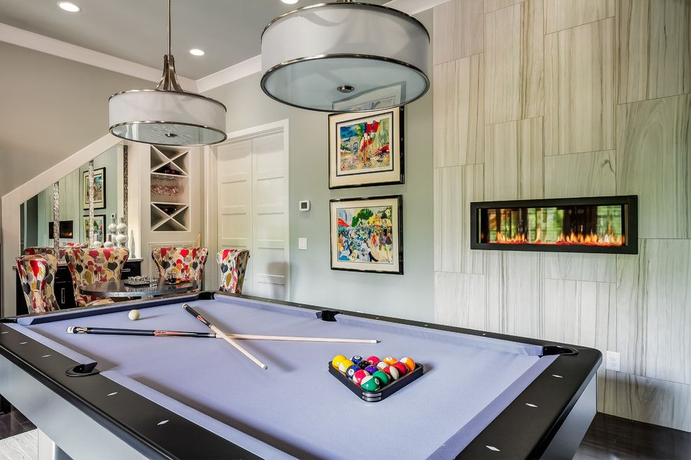 Golden West Billiards for a Transitional Basement with a Basement Bar and Benzinger Terrace   Brentwood, Tn by Eric Ross Interiors, Llc