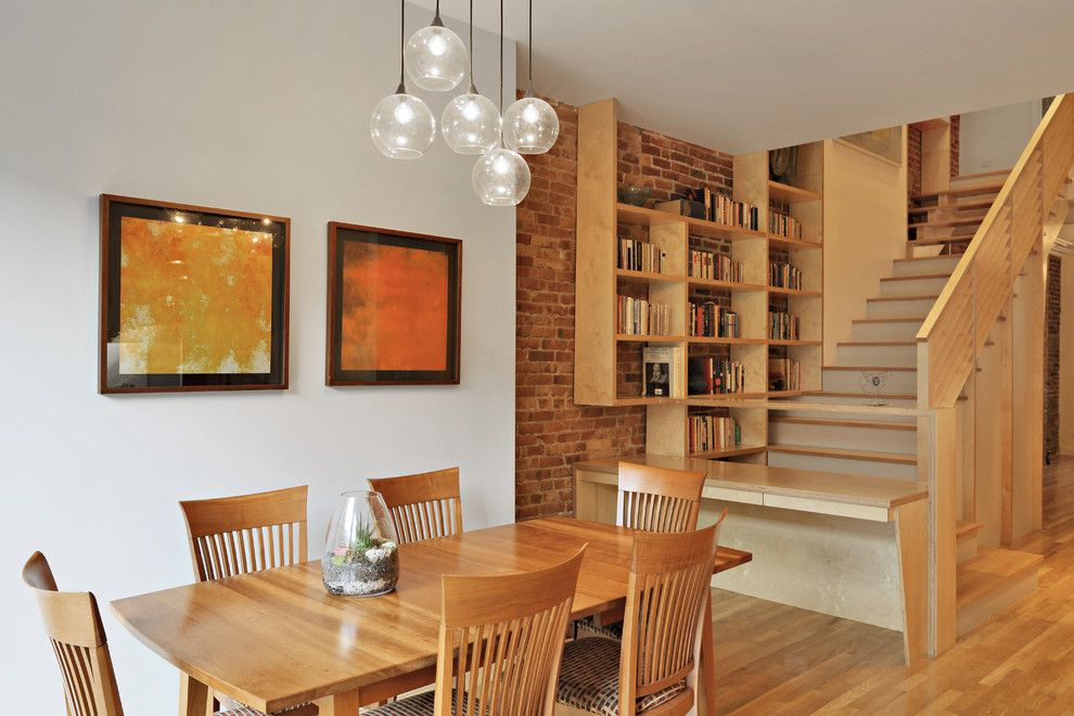 Hanson Brick for a Eclectic Dining Room with a Bubble Pendants and Park Slope Triplex by Nc2 Architecture Llc