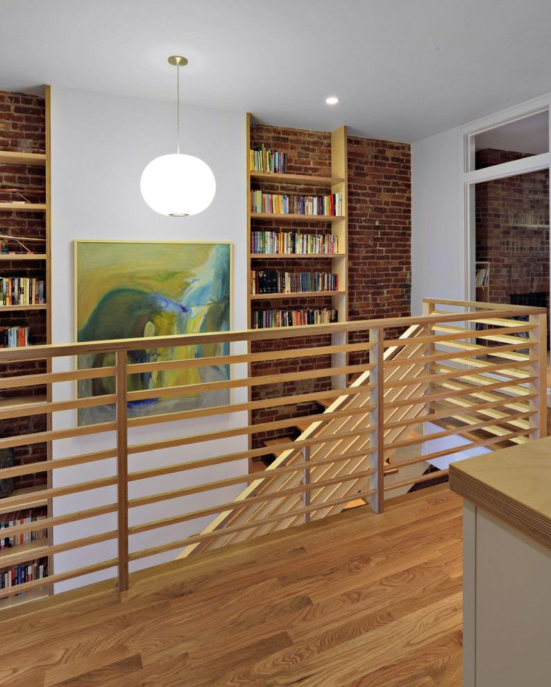Hanson Brick for a Eclectic Hall with a Wood Stairs and Park Slope Triplex by Nc2 Architecture Llc