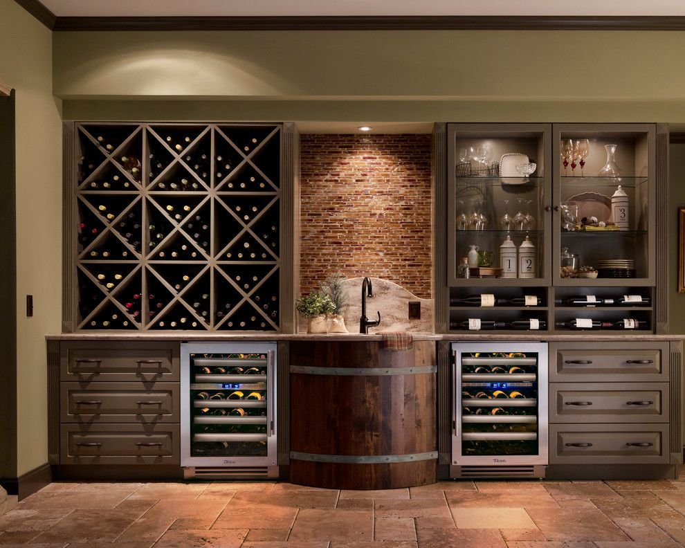 Hanson Brick for a Rustic Wine Cellar with a Soffit and True Professional Series by True Residential
