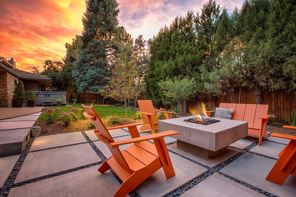 How to Build a Paver Patio for a Contemporary Patio with a Orange Adirondack Chairs and Mid Century Contemporary Landscape by Emerson Outdoor Design