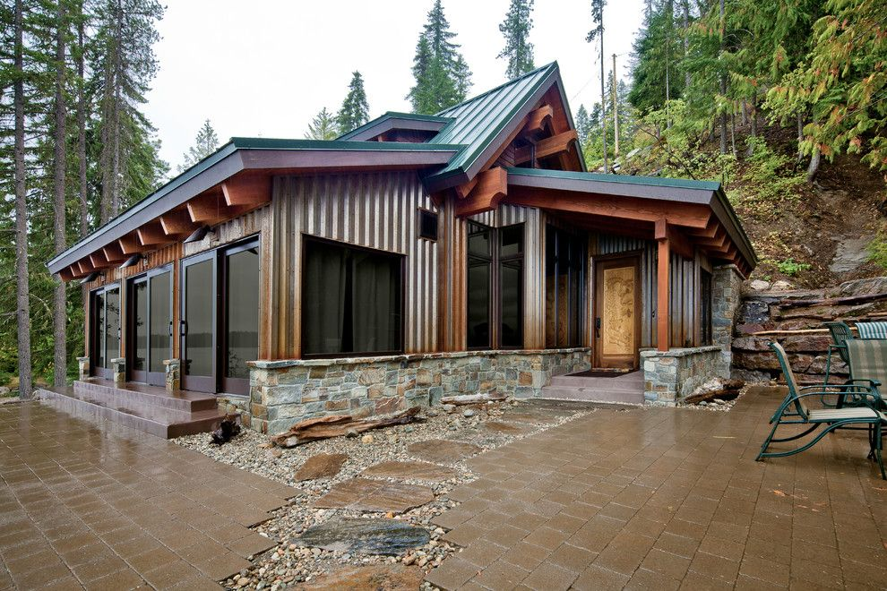 How to Build a Paver Patio for a Contemporary Patio with a Patio Doors and Concrete Floored Abode   a Cabin on Lake Wenatchee by Gelotte Hommas Architecture