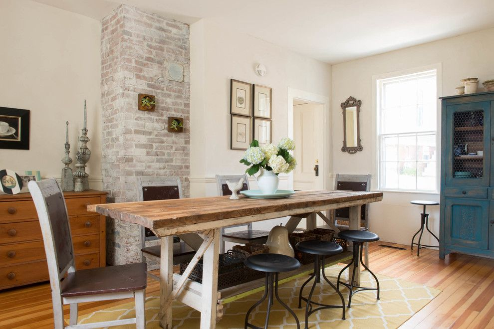 How to Whitewash Furniture for a Farmhouse Dining Room with a American Clay Plaster and Historic Caretaker's Wing by Lisa Teague Design Studios