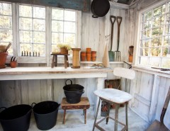 How to Whitewash Furniture for a Farmhouse Shed with a Work Table and Shy Rabbit Farm by Tess Fine