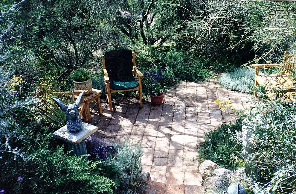 How to Whitewash Furniture for a Rustic Landscape with a Brick Paving and Spiritual Gardens (Not Religious) by Jsl Exteriors Landscape Design/build