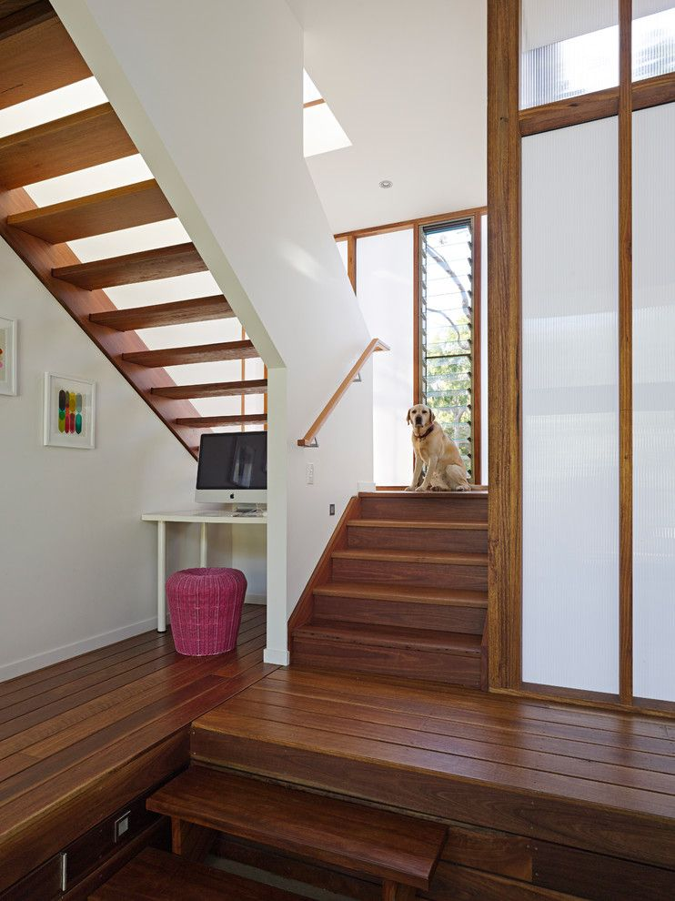 Jalousies for a Contemporary Staircase with a Jalousie Windows and Spoonbill House, Peregian Beach, Sunshine Coast, Queensland by Bark Design Architects