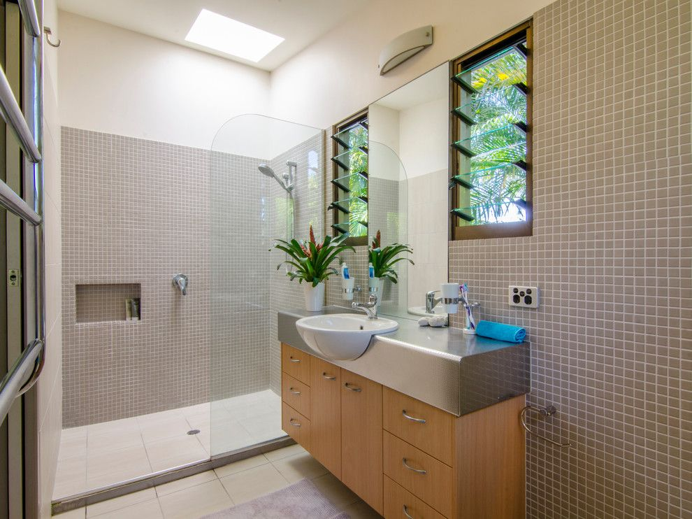 Jalousies for a Tropical Bathroom with a Skylight and Buderim Renovation by Coastal Style Constructions