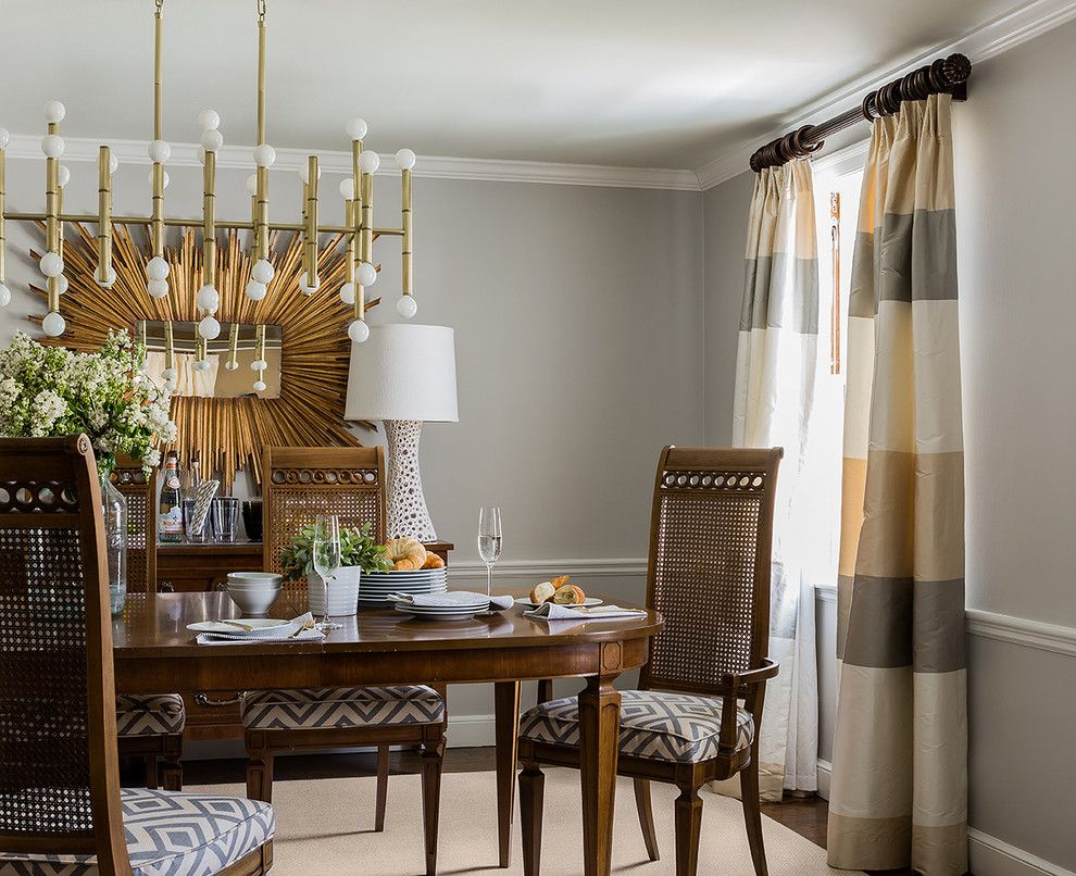 Jonathan Adler Planner for a Contemporary Dining Room with a Gray Wall and Wellesley Colonial by Hudson Interior Design