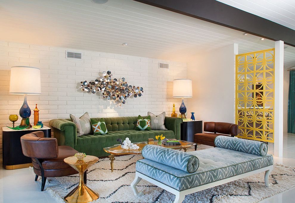 Jonathan Adler Planner for a Midcentury Living Room with a Brown Leather Side Chair and South Canyon: Colorful Modern Mix by Joel Dessaules Design