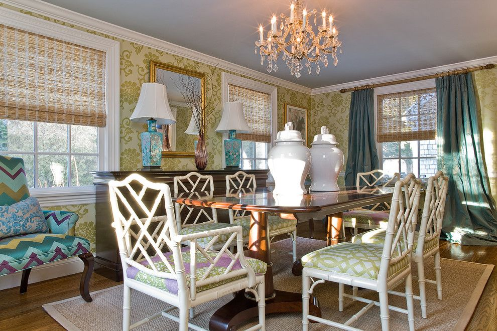 Jonathan Adler Planner for a Transitional Dining Room with a Wood Molding and Katie Rosenfeld Interiors by Michael J. Lee Photography