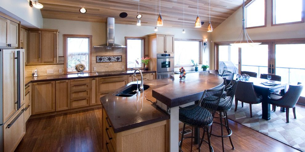 Lakeside Appliance for a Contemporary Kitchen with a Island and Lakeside Contemporary (Remodel) by Moceri Construction