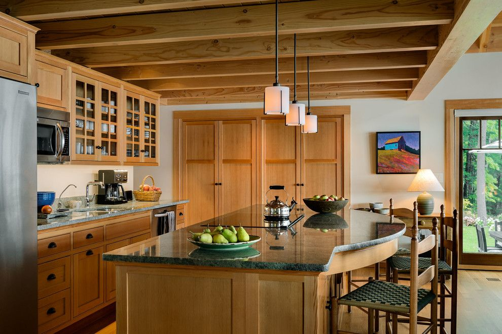 Lakeside Appliance for a Craftsman Kitchen with a Craftsman and Lakeside Maine Cottage by Tms Architects