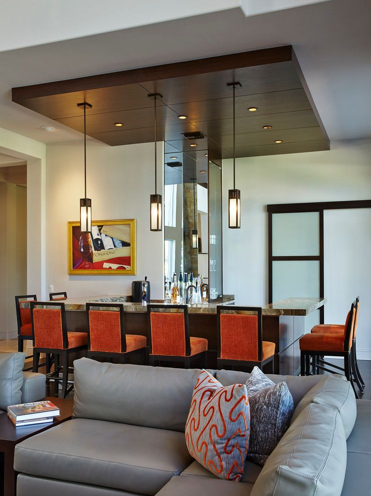 Lazar Furniture for a Contemporary Home Bar with a Recessed Lighting and Private Residence, Boca Raton, Florida by Susan Lachance Interior Design