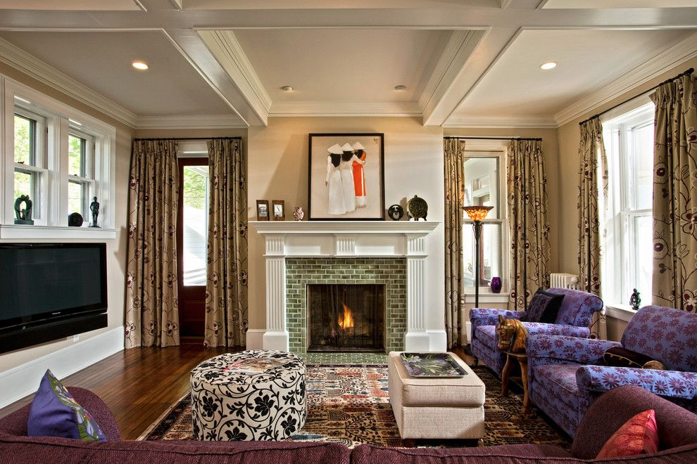 Legacy Linens for a Traditional Living Room with a Fireplace Tile and Changing History by Teakwood Builders, Inc.