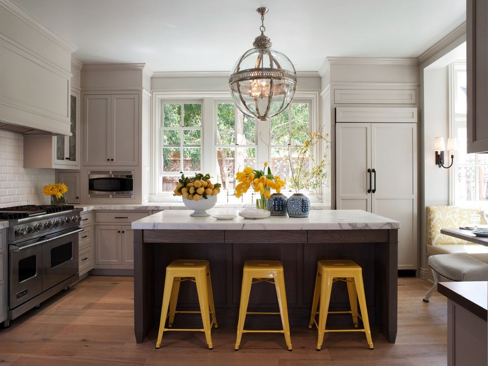 Long Island Paneling For A Traditional Kitchen With Tolix Bar Stool And Mill Valley Classic