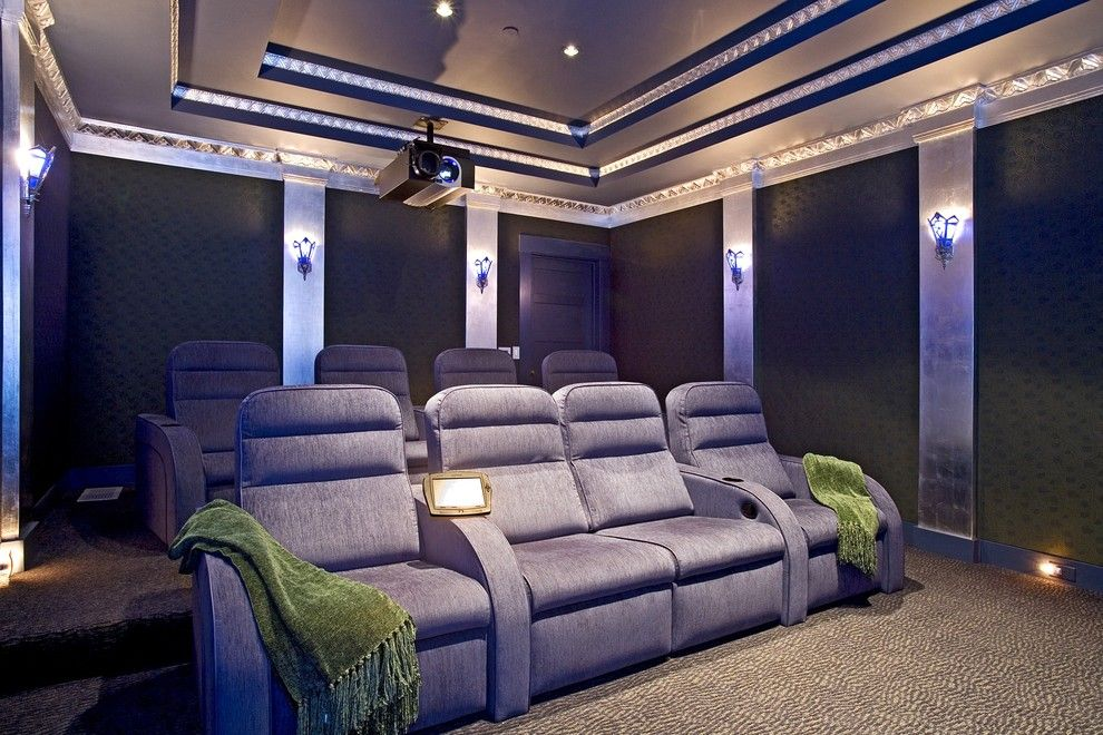 Los Banos Theater for a Eclectic Home Theater with a Runco Video Projector and Santa Barbara Home Theater by via - Santa Barbara