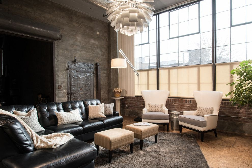 Los Banos Theater for a Industrial Living Room with a Large Windows and Modern City Condo by Tamsin Design Group