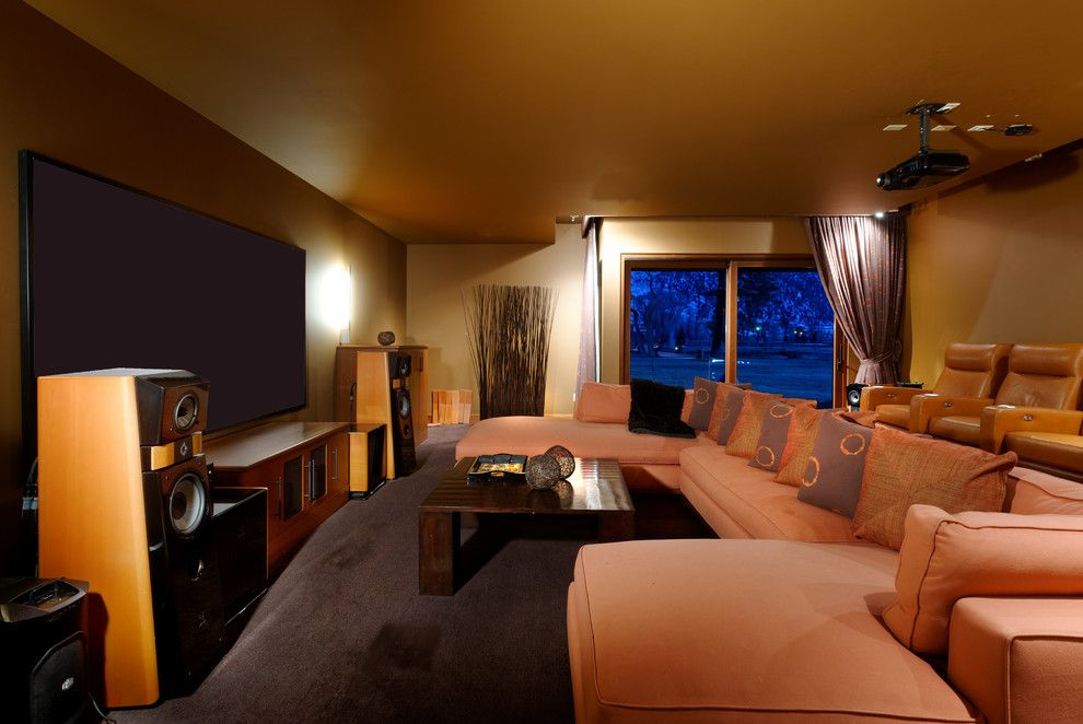 Los Banos Theater for a Traditional Home Theater with a Cushions and Carbondale, Co Home by Andersen Miller Design