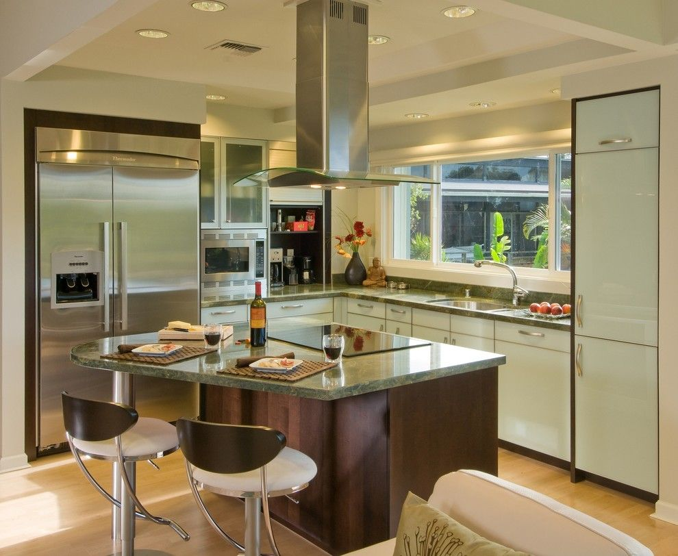 Lowes Hawaii for a Contemporary Kitchen with a Tray Ceiling and a Room with a View by Archipelago Hawaii Luxury Home Designs