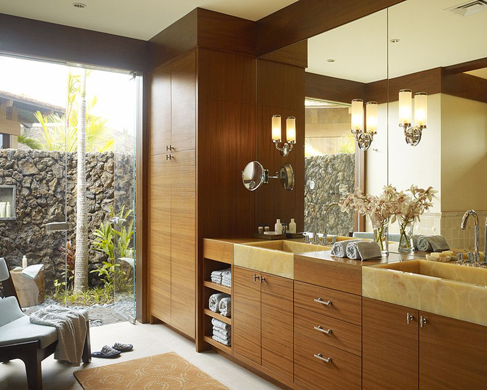 Lowes Hawaii for a Tropical Bathroom with a Floral Arrangement and Hawaii Residence by Slifer Designs