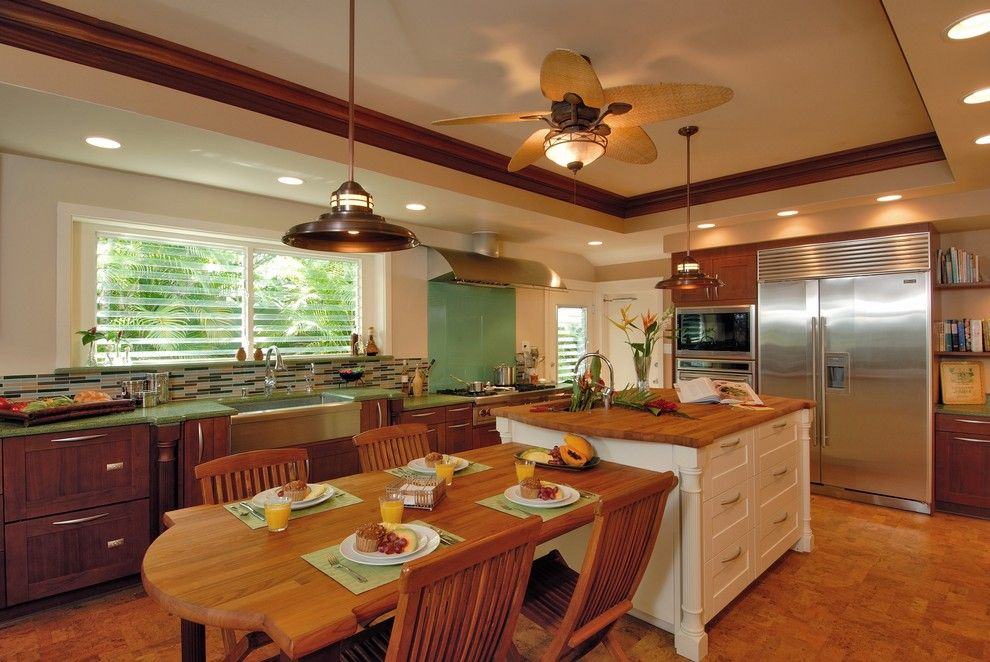 Lowes Hawaii for a Tropical Kitchen with a Eat in Kitchen and Hale Aina by the Sea by Archipelago Hawaii Luxury Home Designs