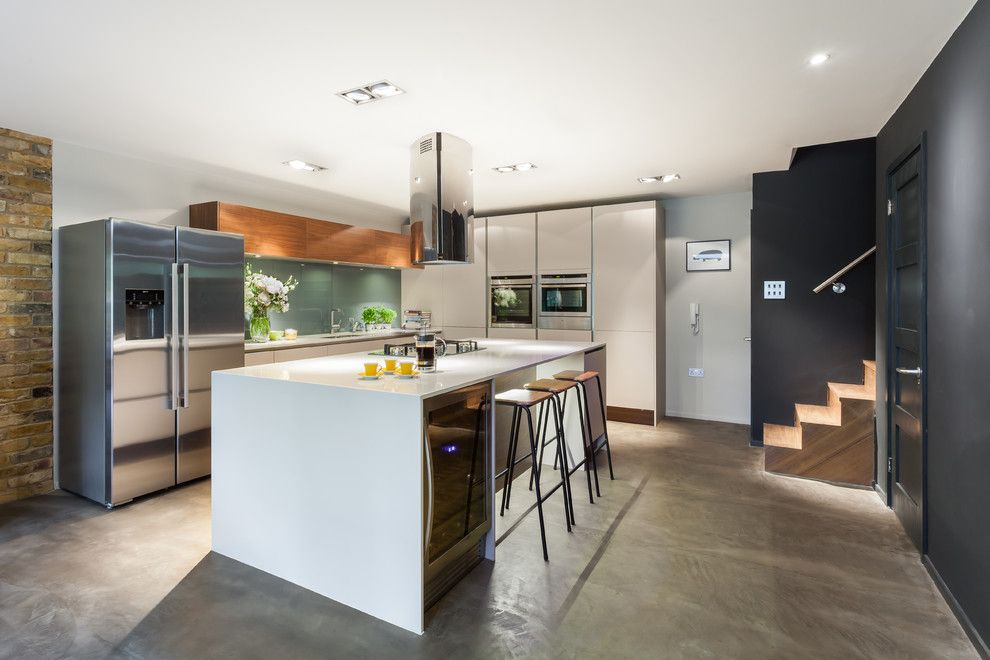 Lowes Seneca Sc for a Contemporary Kitchen with a Walnut Veneer and Bespoke New Basement Kitchen, Kingston, London by Casey & Fox