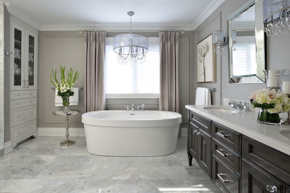 Lumar for a Contemporary Bathroom with a Freestanding Bath and Nobleton Ensuite Renovation by Lumar Interiors