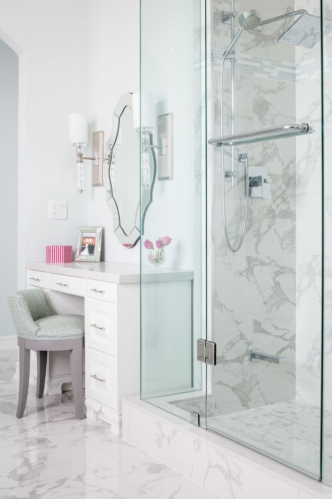 Lumar for a Traditional Bathroom with a Vanity Stool and Richmond Hill Bathroom Renovation by Lumar Interiors