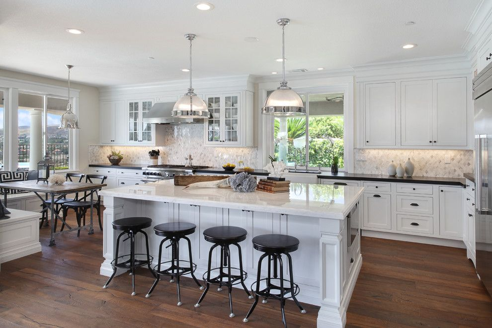 Lyndon Furniture for a Beach Style Kitchen with a Built in Bench Seating and Camino Bandera by Lea Biermann