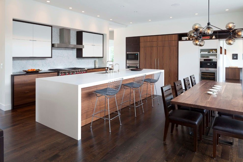 Lyndon Furniture for a Contemporary Kitchen with a Metal Barstools and Minnehaha Creek Transitional by Charlie & Co. Design, Ltd