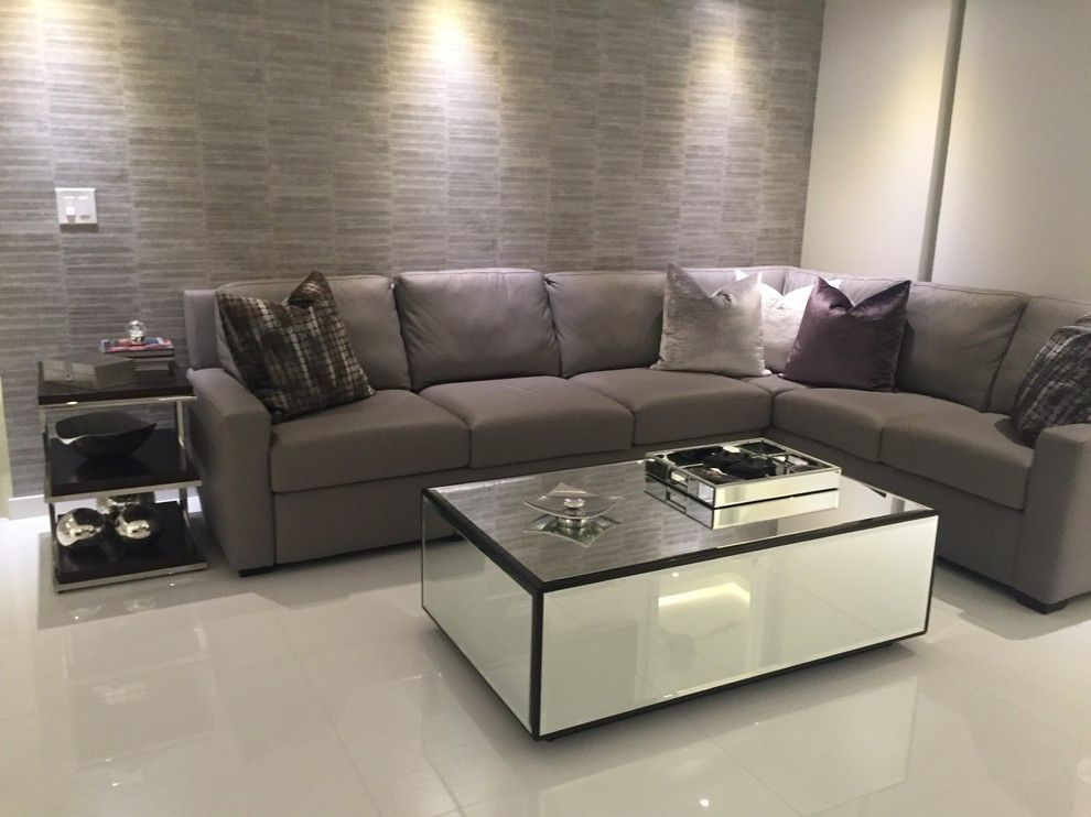 Lyndon Furniture for a Contemporary Living Room with a American Leather Sectional and Hallandale Vacation Condo by Wasser's Exclusive Furniture & Interiors