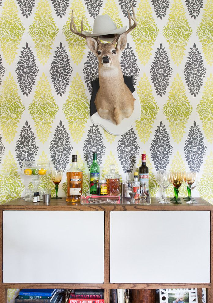 Lyndon Furniture for a Eclectic Home Bar with a Wallpaper and Mid Century Eclectic Home by Shannon Eddings Interiors
